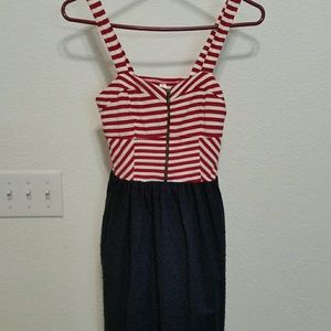 exhilaration red white blue Sun dress